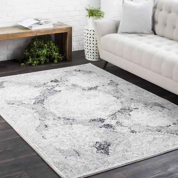 Light Grey, Medium Grey, Black Vintage / Overdyed Area Rug