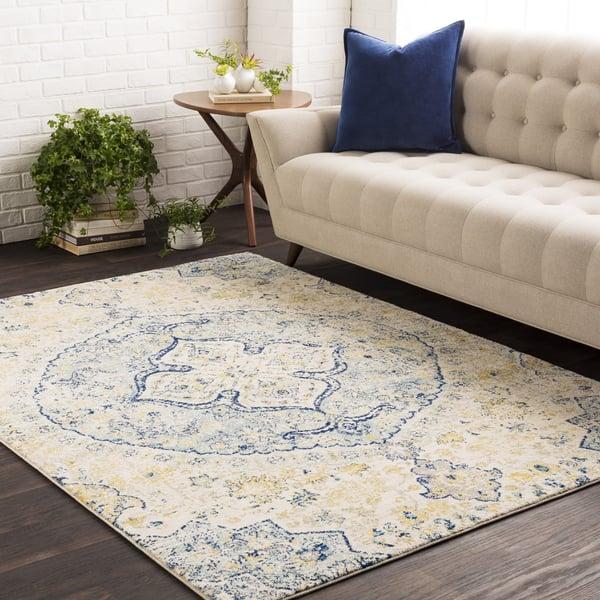 Teal, Saffron, White Vintage / Overdyed Area-Rugs