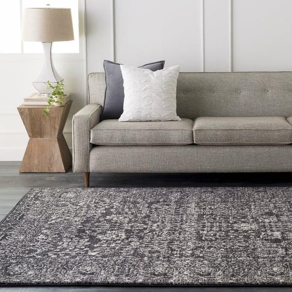 Light Gray, Black, Beige Traditional / Oriental Area Rug