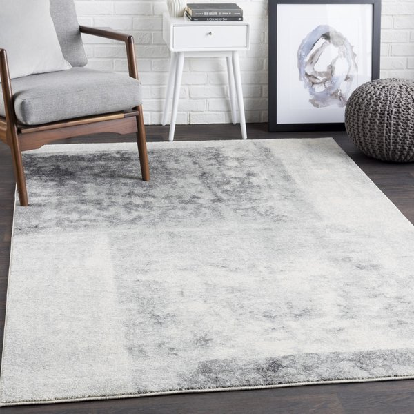 Light Gray, Beige, Charcoal Abstract Area Rug