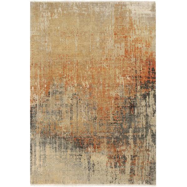 Burnt Orange, Rust, Medium Grey (COA-2005) Contemporary / Modern Area Rug