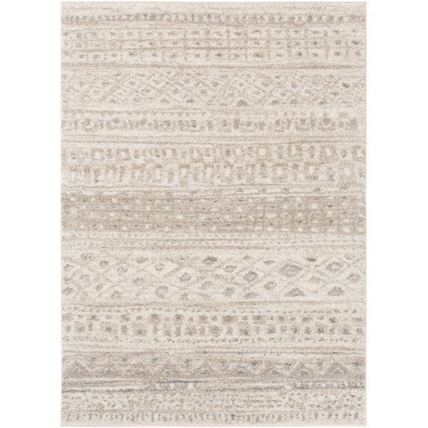 Ivory, Light Gray, Medium Gray Moroccan Area Rug