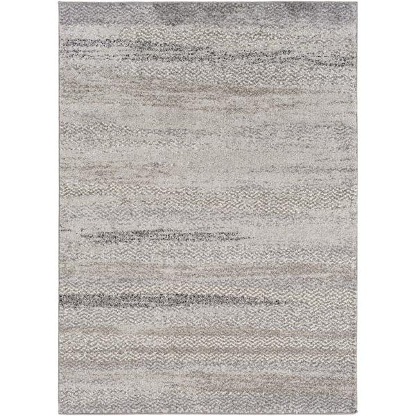 Light Gray, Ivory, Black, Medium Gray Moroccan Area Rug