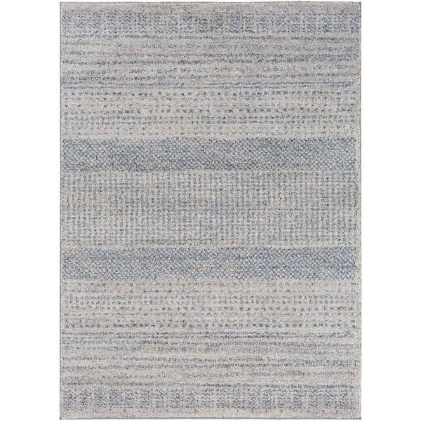 Medium Gray, Bright Blue, Black Shag Area Rug