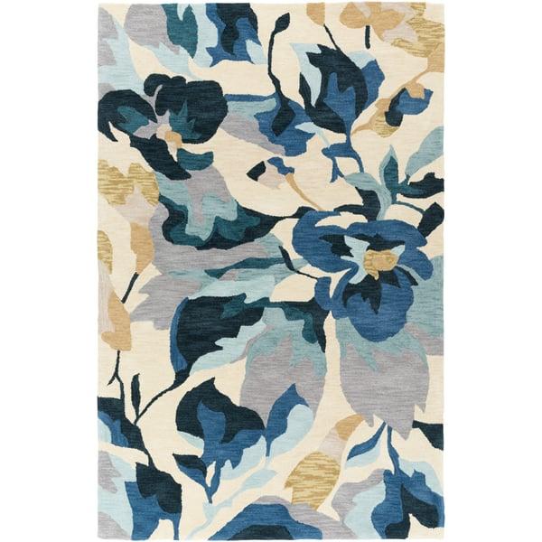 Butter, Gray, Green, Blue, Wheat (RVR-1000)  Floral / Botanical Area Rug