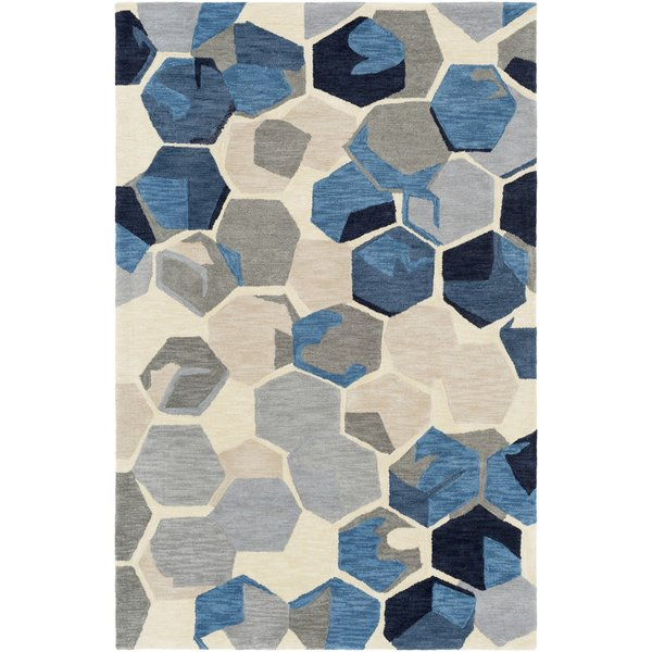 Navy, Medium Grey, Butter (RVR-1007) Geometric Area Rug