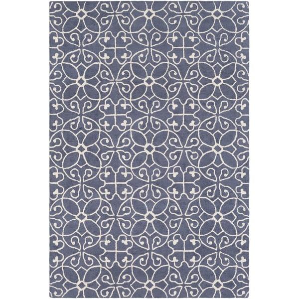 Dark Blue, Cream (SCT-1009) Contemporary / Modern Area Rug