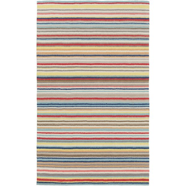 Bright Red, Yellow, Camel, Navy, Aqua, Taupe Striped Area Rug
