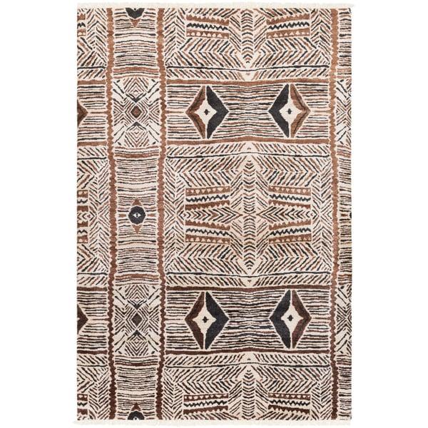 Cream, Dark Brown, Black Moroccan Area Rug