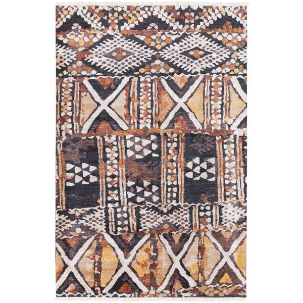 Khaki, Camel, Saffron, Burnt Orange, Tan, Black Moroccan Area Rug