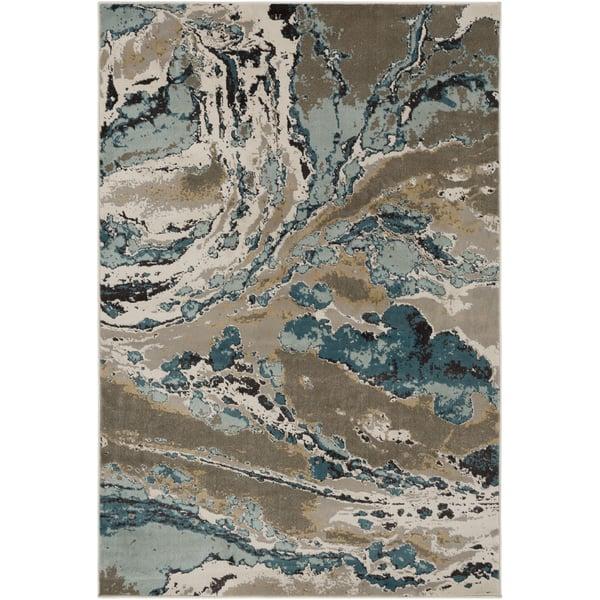 Camel, Taupe, Dark Brown, Sage, Aqua, Cream Abstract Area-Rugs