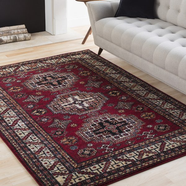 Red, Black, White Traditional / Oriental Area Rug