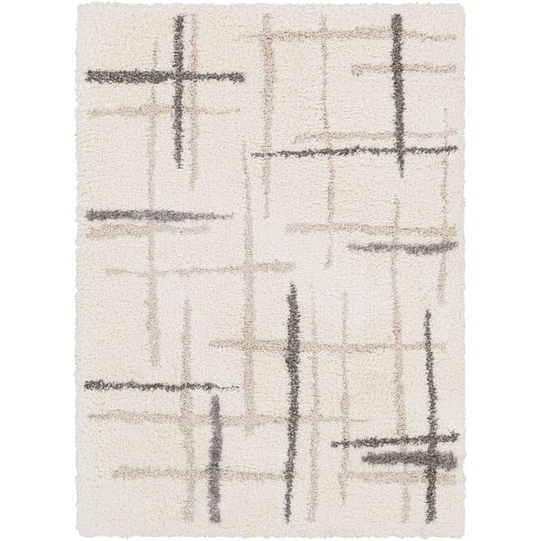 Cream, Light Gray, Medium Gray, White Shag Area Rug