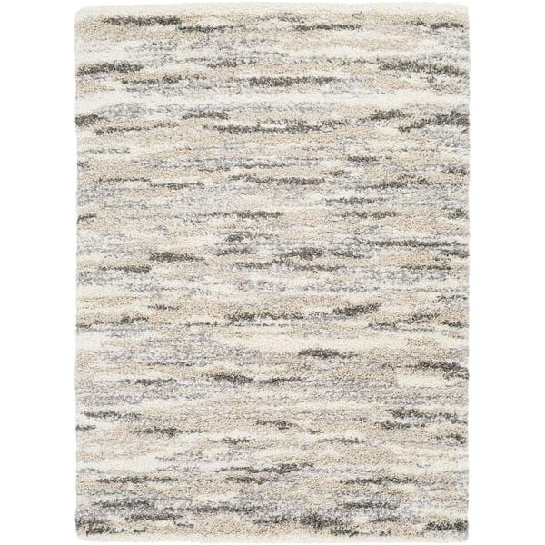 Cream, Dark Brown, Medium Gray, White Contemporary / Modern Area Rug