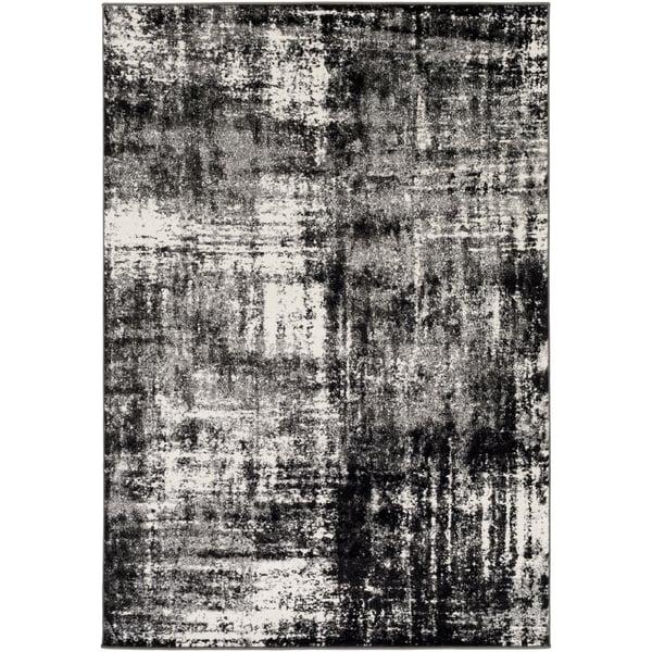 Charcoal, Black, Cream, Medium Gray (PEI-1006) Vintage / Overdyed Area Rug