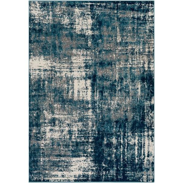Aqua, Bright Blue, Cream, Medium Gray (PEI-1007) Vintage / Overdyed Area Rug