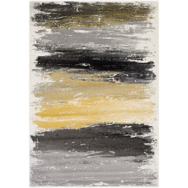 Gray, Charcoal, Black, Mustard, Cream (PEI-1008) Abstract Area Rug
