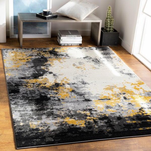 Charcoal, Black, Mustard, Cream, Gray (PEI-1011) Abstract Area Rug