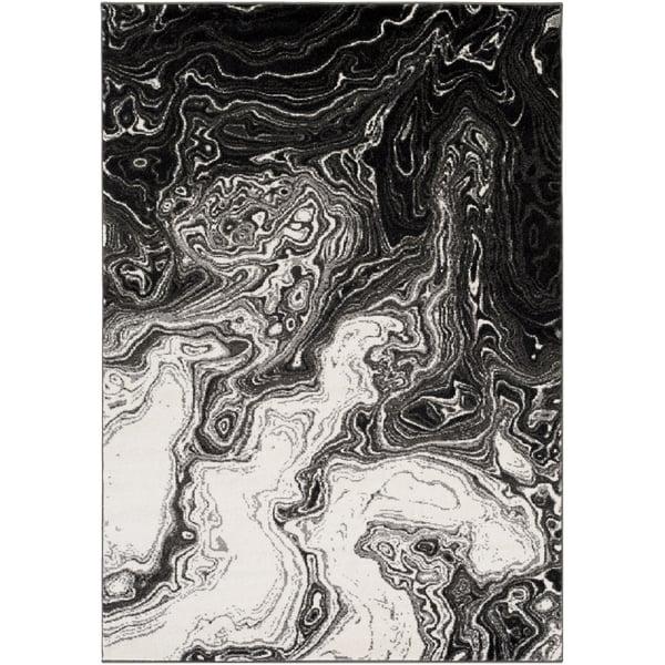 Black, Medium Gray, Cream (PEI-1014) Abstract Area Rug