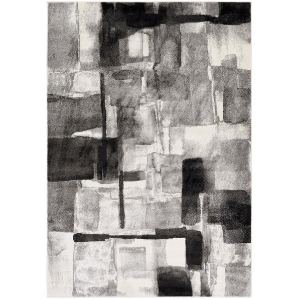 Black, Medium Gray, Cream (PEI-1019) Abstract Area Rug