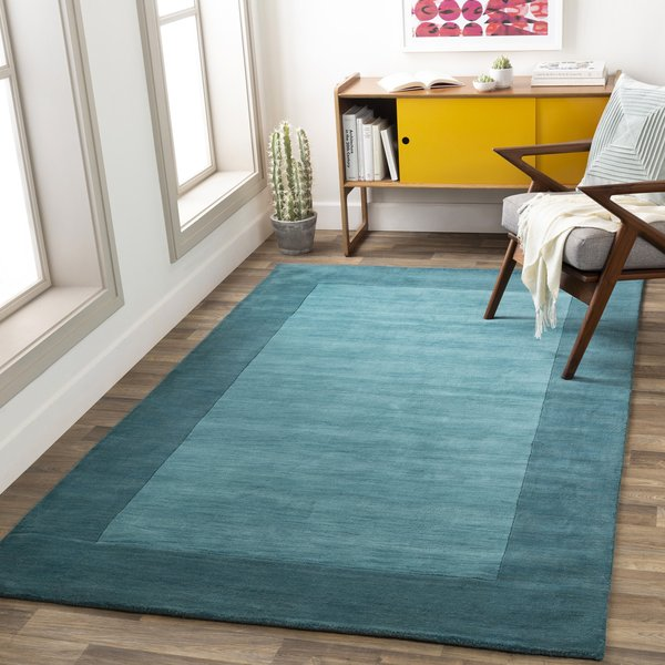 Aqua, Teal (M-5469) Contemporary / Modern Area Rug