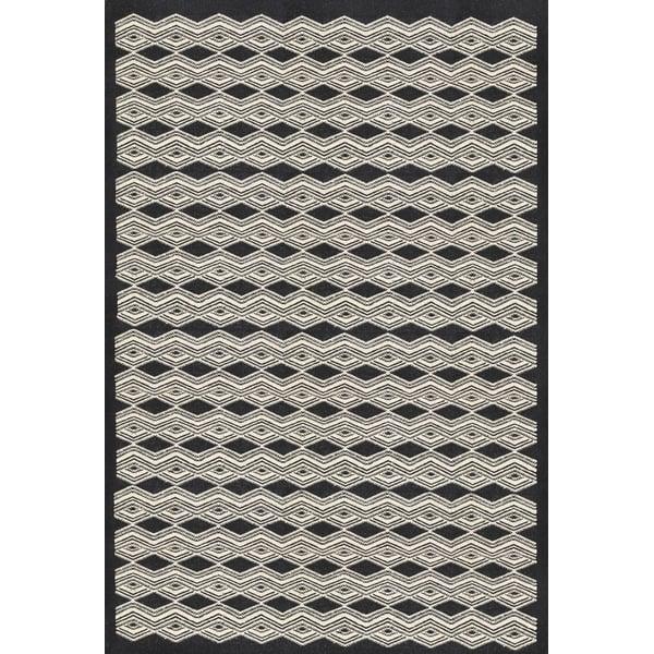 Black, Cream (AGO-1001) Contemporary / Modern Area Rug