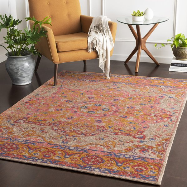 Bright Pink, Ivory, Camel (AMS-1016) Traditional / Oriental Area Rug