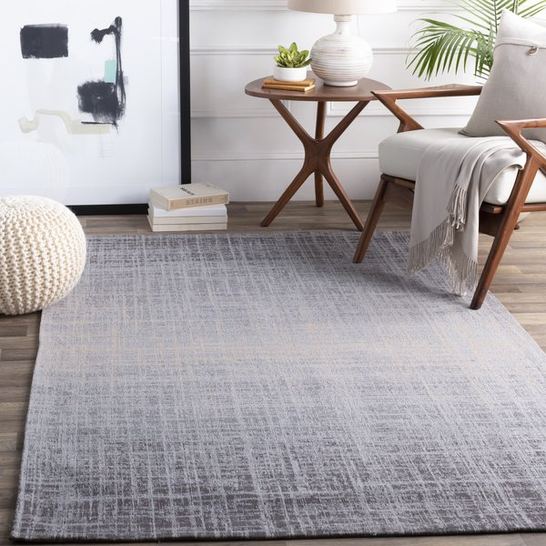 Grey, Silver, Beige Abstract Area Rug
