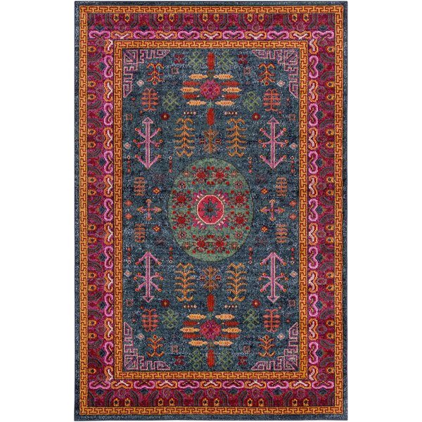 Teal, Bright Pink, Aqua, Black, Lime Traditional / Oriental Area-Rugs