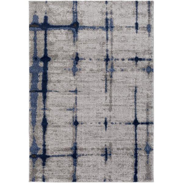 Silver Grey, Sky Blue, Dark Blue (BYL-1012) Contemporary / Modern Area Rug