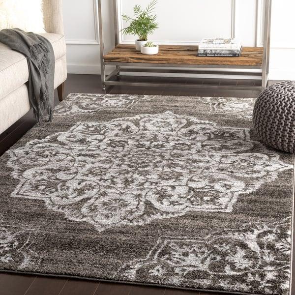 Medium Gray, Black, Silver Gray (BYL-1031) Traditional / Oriental Area Rug