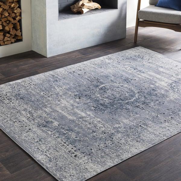 Medium Grey, Khaki, Charcoal, Black Vintage / Overdyed Area Rug