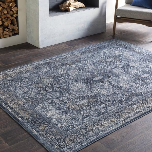 Medium Grey, Charcoal, Black, Khaki, Camel Traditional / Oriental Area Rug