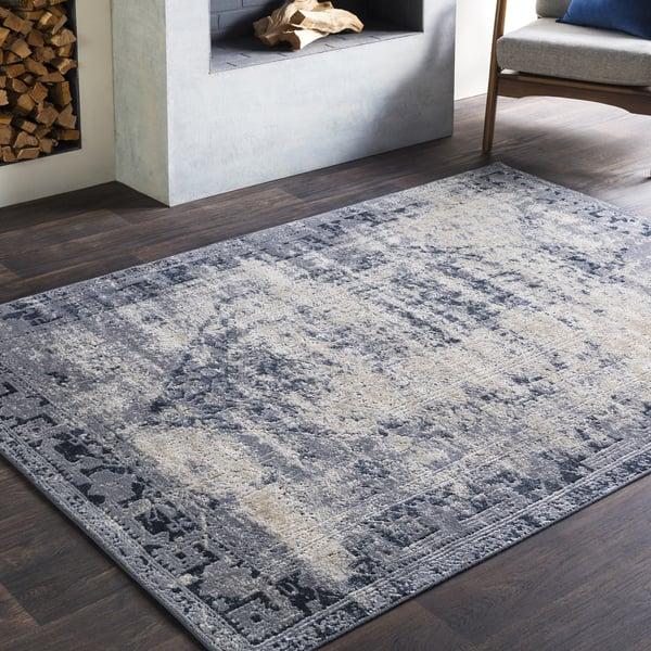 Medium Grey, Charcoal, Black, Khaki Vintage / Overdyed Area Rug