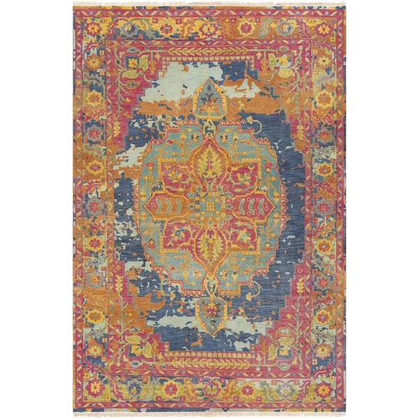 Bright Pink, Camel, Dark Blue Vintage / Overdyed Area Rug