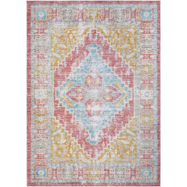 Coral, Mint, Bright Yellow, Beige Vintage / Overdyed Area Rug