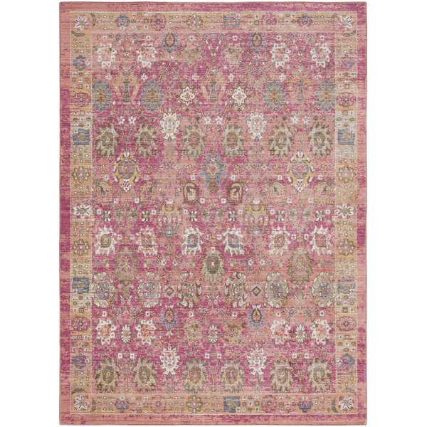 Bright Pink, Pale Pink, Bright Yellow, Dark Blue Traditional / Oriental Area Rug