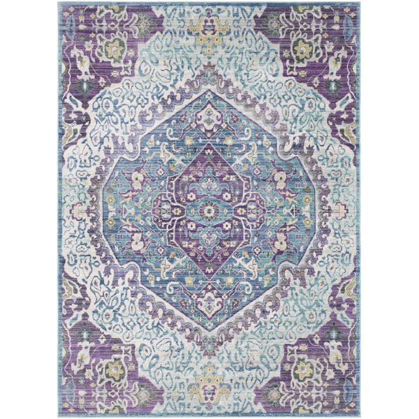 Bright Purple, Pale Blue, Teal, Lime, Camel Traditional / Oriental Area Rug