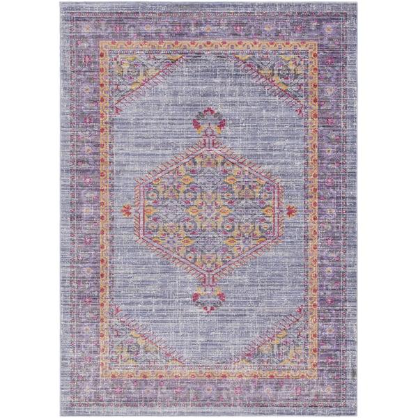 Violet, Bright Purple, Saffron, Pink Traditional / Oriental Area Rug
