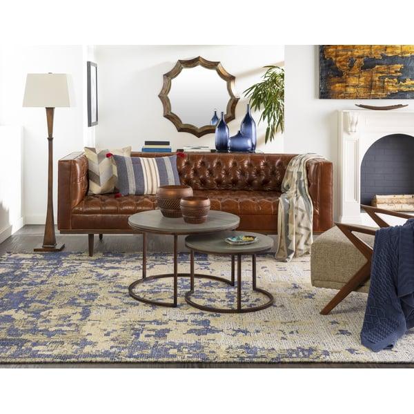 Bright Blue, Dark Blue, Dark Brown Vintage / Overdyed Area Rug