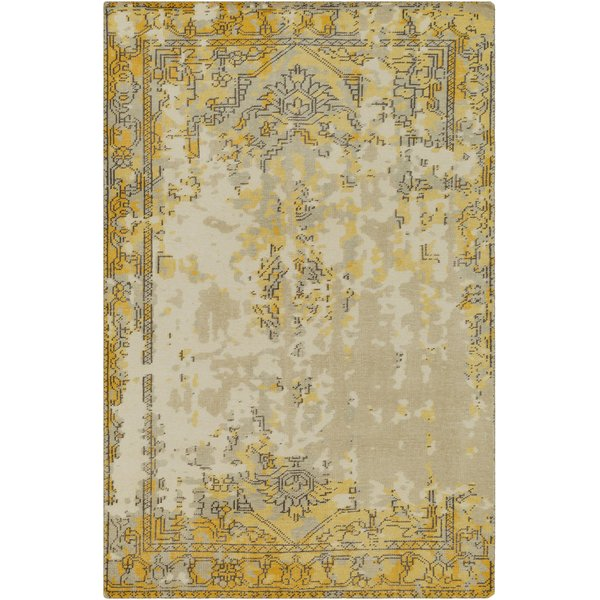 Taupe, Bright Yellow, Charcoal, Light Grey Vintage / Overdyed Area-Rugs