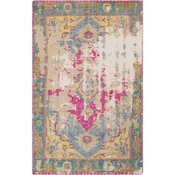 Teal, Khaki, Emerald, Bright Pink, Orange, Cream Vintage / Overdyed Area Rug