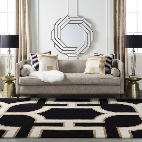 Black, Cream, Tan (INE-1000) Contemporary / Modern Area Rug