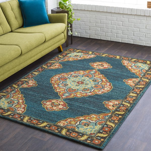 Teal, Burnt Orange, White, Yellow, Rust, Camel Contemporary / Modern Area Rug