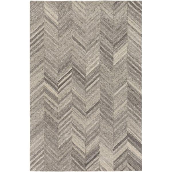 Cream, White, Light Grey, Medium Grey Contemporary / Modern Area Rug