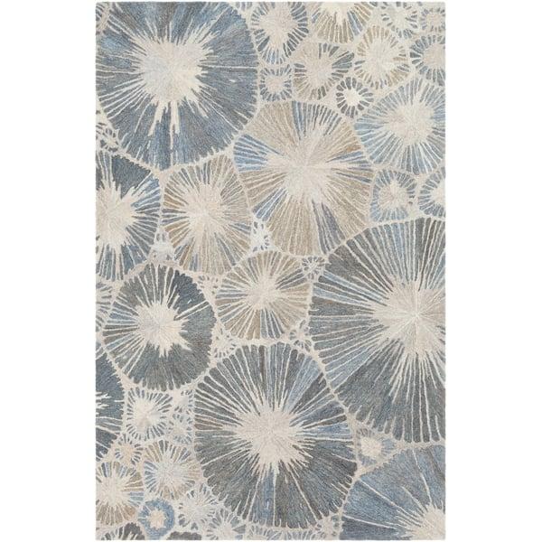 Dark Blue, Navy, Ivory Contemporary / Modern Area Rug