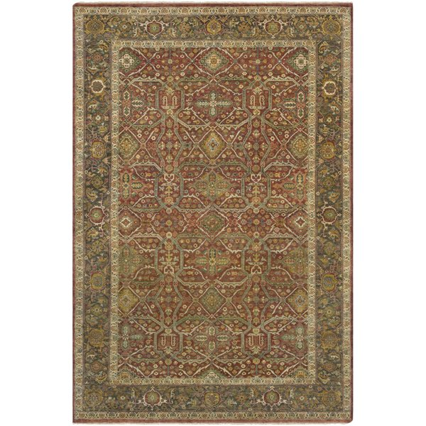 Dark Brown, Camel, Butter, Lime, Sky Blue Traditional / Oriental Area Rug