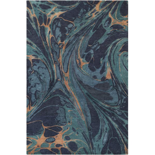 Navy, Emerald, Teal, Camel Abstract Area Rug
