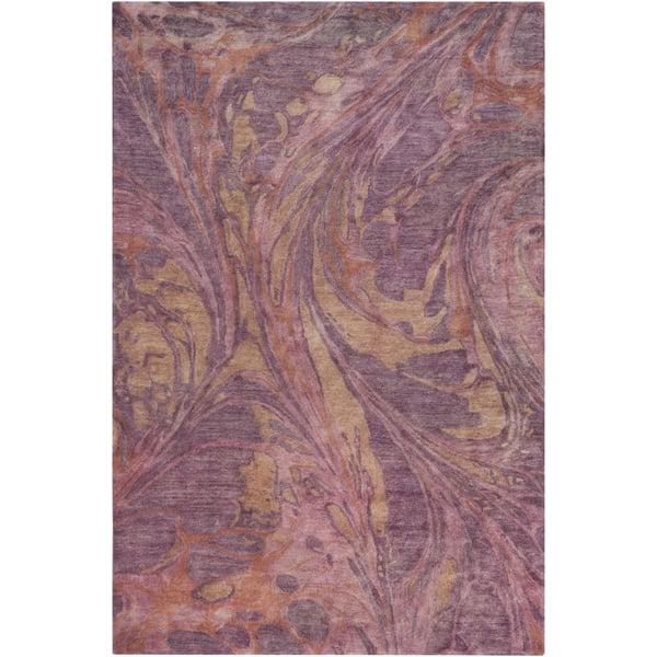Rose, Eggplant, Burnt Orange, Camel Abstract Area Rug