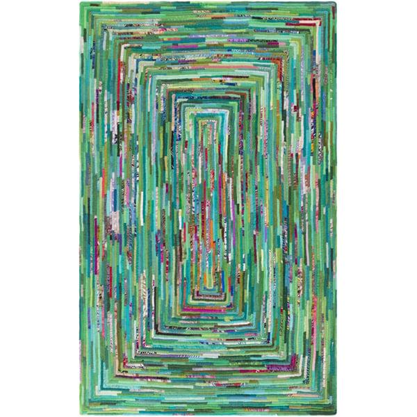 Emerald, Sky Blue, Aqua, Peach (RMB-1000) Contemporary / Modern Area Rug